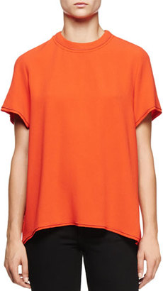 Proenza Schouler Short-Sleeve Split-Back Blouse, Electric Red $750 thestylecure.com