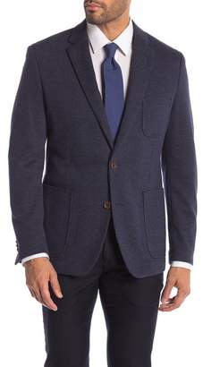English Laundry Navy White Knit Two Button Notch Lapel Sport Coat