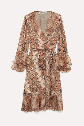 Diane von Furstenberg Carli Ruffled Snake-print Silk-jersey And Georgette Wrap Dress - Brown