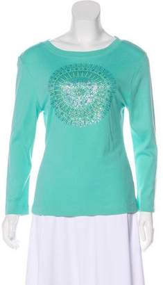 Tory Burch Sequiend Crew Neck Top