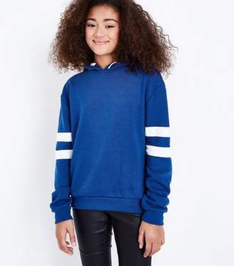 New Look Teens Blue Stripe Sleeve Hoodie