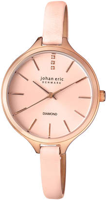 Johan Eric Herlev Slim Quartz Diamond Pink Leather Strap Watch