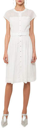 Akris Punto Button-Front Cap-Sleeve Belted Midi Dress