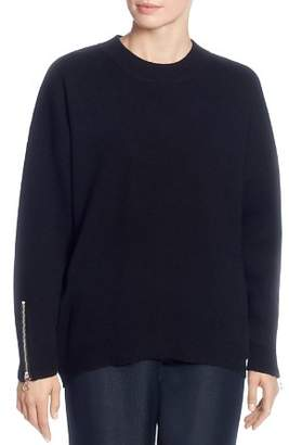 T Tahari Crewneck Zip-Cuff Sweater