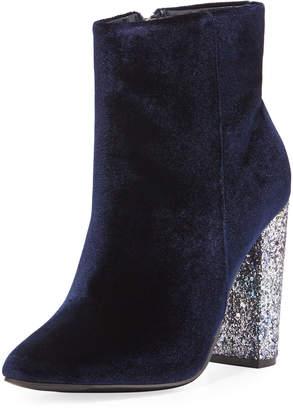 Neiman Marcus Bucasia Velvet Glitter-Heel Booties