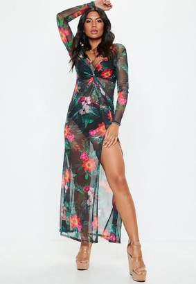 Missguided Black Floral Thigh Split Sheer Mesh Maxi Dress