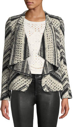 BA&SH Ilda Stripe Knit Open-Front Blazer Jacket