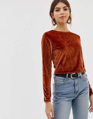 Asos DESIGN velvet lettuce edge top with long sleeve