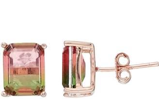 Rose Gold Tone Watermelon Cubic Zirconia Rectangle Stud Earrings