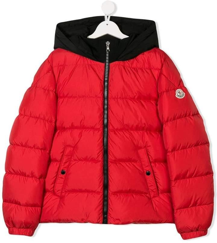 Moncler Kids TEEN logo trim padded coat