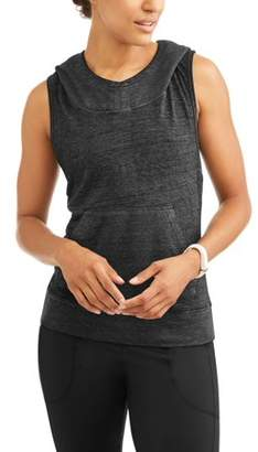 Generic Women's Athleisure Burnout Sleeveless Pullover Hooded Vest