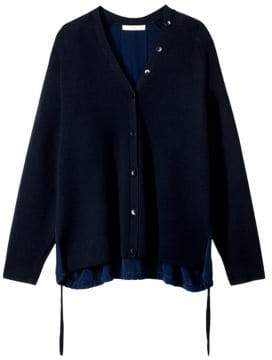 Tibi Wool Silk-Back Cardigan
