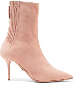 Aquazzura Saint Honore Suede Sock Boots - Antique rose
