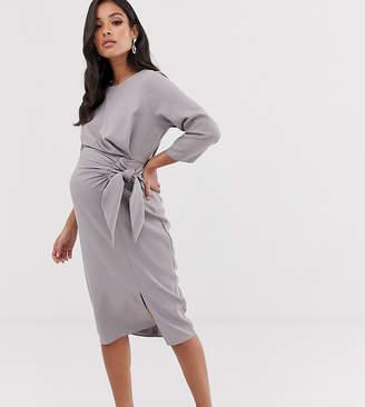 Asos DESIGN Maternity wrap detail midi dress