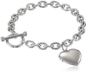 Sterling Silver Toggle Bracelet with Heart Locket
