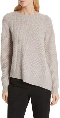 Nordstrom Signature Cable Mix Asymmetrical Cashmere Sweater