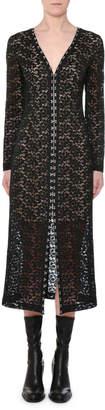 Stella McCartney V-Neck Hook-Front Long-Sleeve Lace Midi Dress