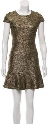 Michael Kors Cap Sleeve Metallic Mini Dress