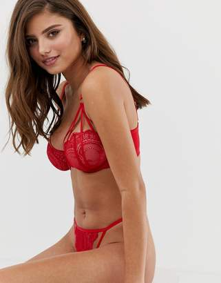 Wolfwhistle Wolf & Whistle Fuller Bust lace and strapping detail bra in red
