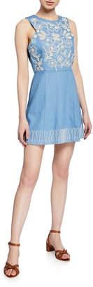 Moon River Sleeveless Embroidered Denim Mini Dress
