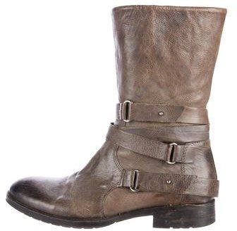 Vera Wang Buckle-Accented Leather Ankle Boots