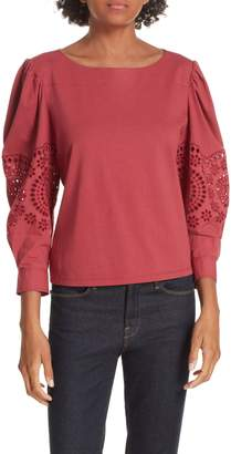 Rebecca Taylor Eyelet Sleeve Cotton Top