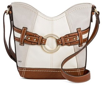 Bolo Women's Faux Leather Crossbody Handbags with Zip Closure- Grey/Bone $34.99 thestylecure.com
