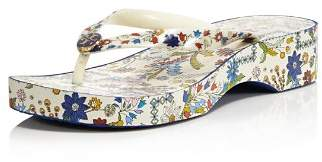 Tory Burch Women's Printed Cut-Out Wedge Thong Sandals