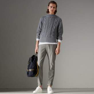 Burberry Open-stitch Detail Cable Knit Cotton Cashmere Sweater, Blue