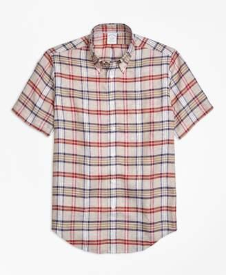 Brooks Brothers Regent Fit Plaid Irish Linen Short-Sleeve Sport Shirt