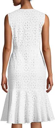 Catherine Malandrino Cotton Eyelet Lace Peplum Sun Dress