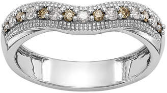 MODERN BRIDE Womens 4mm 1/5 CT. T.W. Genuine Multi Color Diamond 14K White Gold Curved Wedding Band
