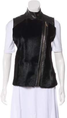 Trilogy Fur-Paneled Leather Vest w/ Tags