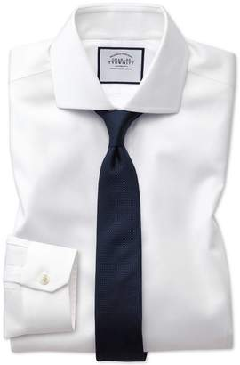 Charles Tyrwhitt Super Slim Fit Non-Iron Spread Collar White Oxford Stretch Cotton Dress Shirt Single Cuff Size 14/33