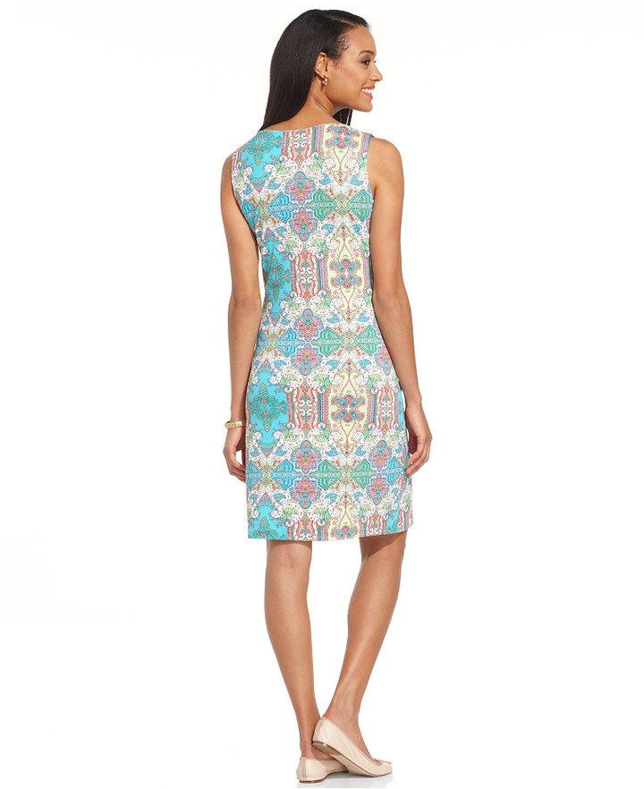 Charter Club Dress, Sleeveless Printed Sheath