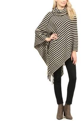 Riah Fashion Striped Fringe Poncho