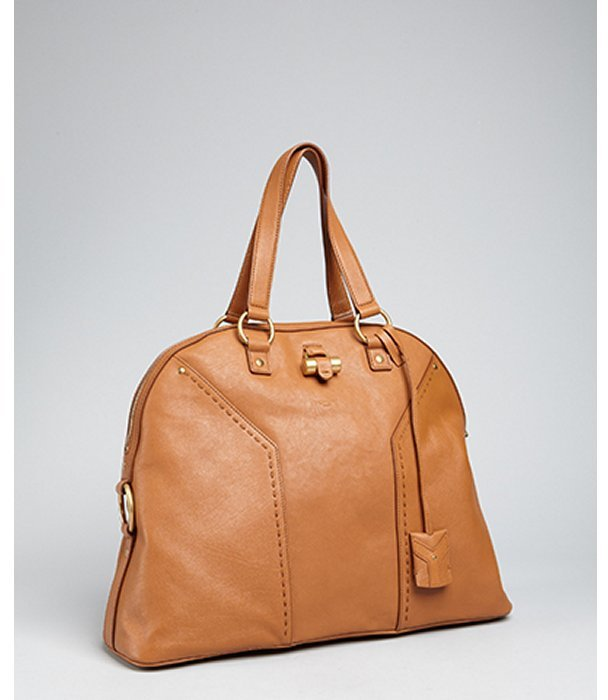 Yves Saint Laurent tan leather 'Muse' oversized tote