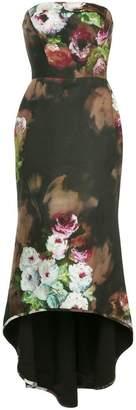 Black Halo Hallucination print strapless dress