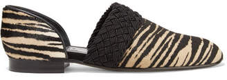 Loewe Flex D'orsay Braided Tiger-print Pony Hair Loafers - Sand