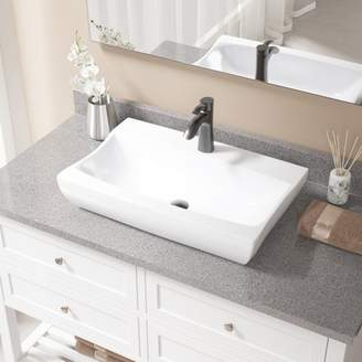 MRDirect Vitreous China Rectangular Vessel Bathroom Sink with Faucet Sink