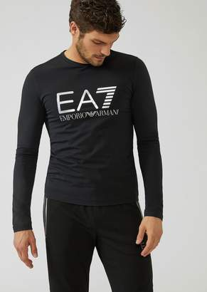 Emporio Armani Ea7 Stretch Cotton Long-Sleeve T-Shirt With Iconic Logo On The Front