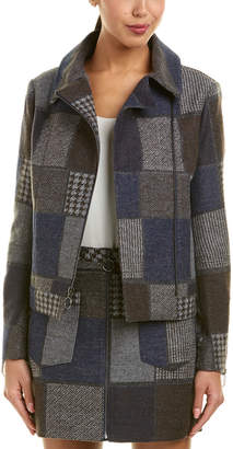 BCBGMAXAZRIA Wool-Blend Patchwork Jacket