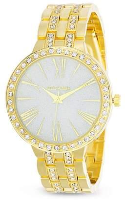 Steve Madden Women's Round Case White Jewel Roman Numeral & Stick Watch, 40mm