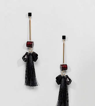 Asos Design DESIGN resin shapes and tassel earrings