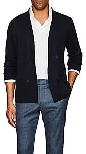 P. Johnson Men's Merino Wool Double-Breasted Cardigan - Navy