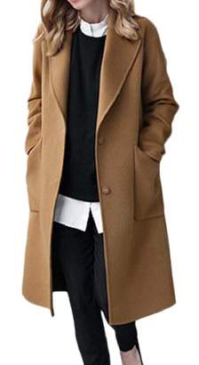 TD-CACA Women's Pure Color Trenchcoat Wool Plus-Size Notched Lapel Pea Coat M