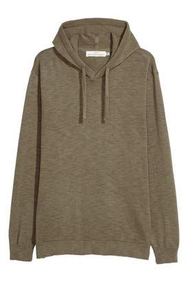 H&M Fine-knit Hooded Sweater - Khaki green - Men