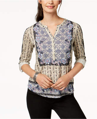 Style&Co. Style & Co Mixed-Print Utility Top