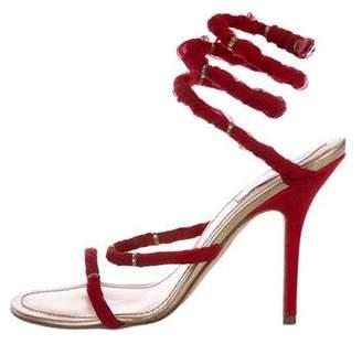 Rene Caovilla Cleo Satin Embellished Sandals