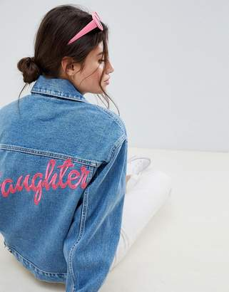 Asos Design DESIGN denim oversize 'daughter' jacket in midwash blue